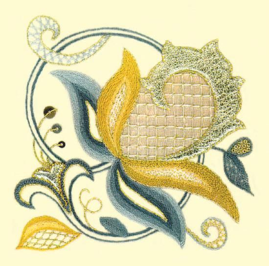Floral Swirl Modern Jacobean Embroidery Kit - a Hand Embroidery Design - Surface Embroidery Stitching