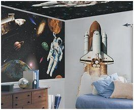 Space Shuttle Wall Mural-space shuttle theme bedroom wall ...