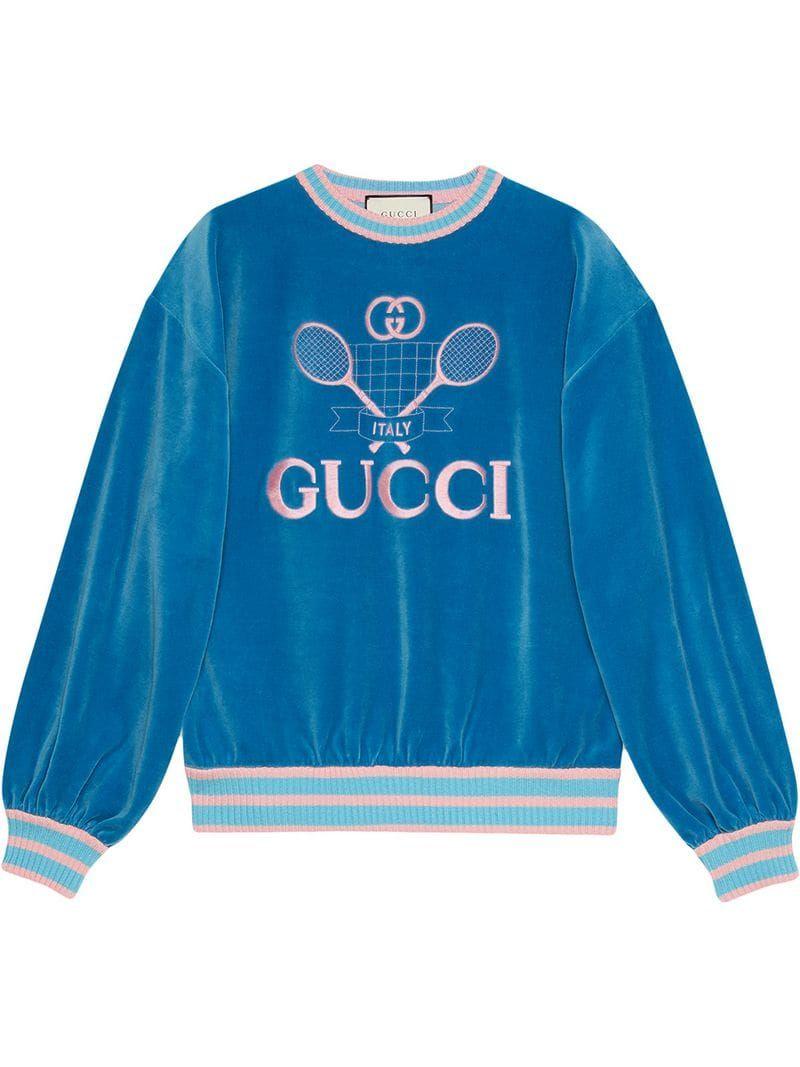Gucci Sweatshirt With Gucci Tennis Farfetch Gucci Sweatshirt Sweatshirts Sweatshirts Women [ 1067 x 800 Pixel ]