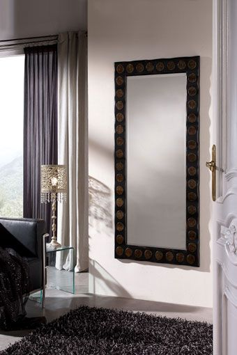 Elegante espejo hera rectangular con marco de madera for Espejo rectangular con marco