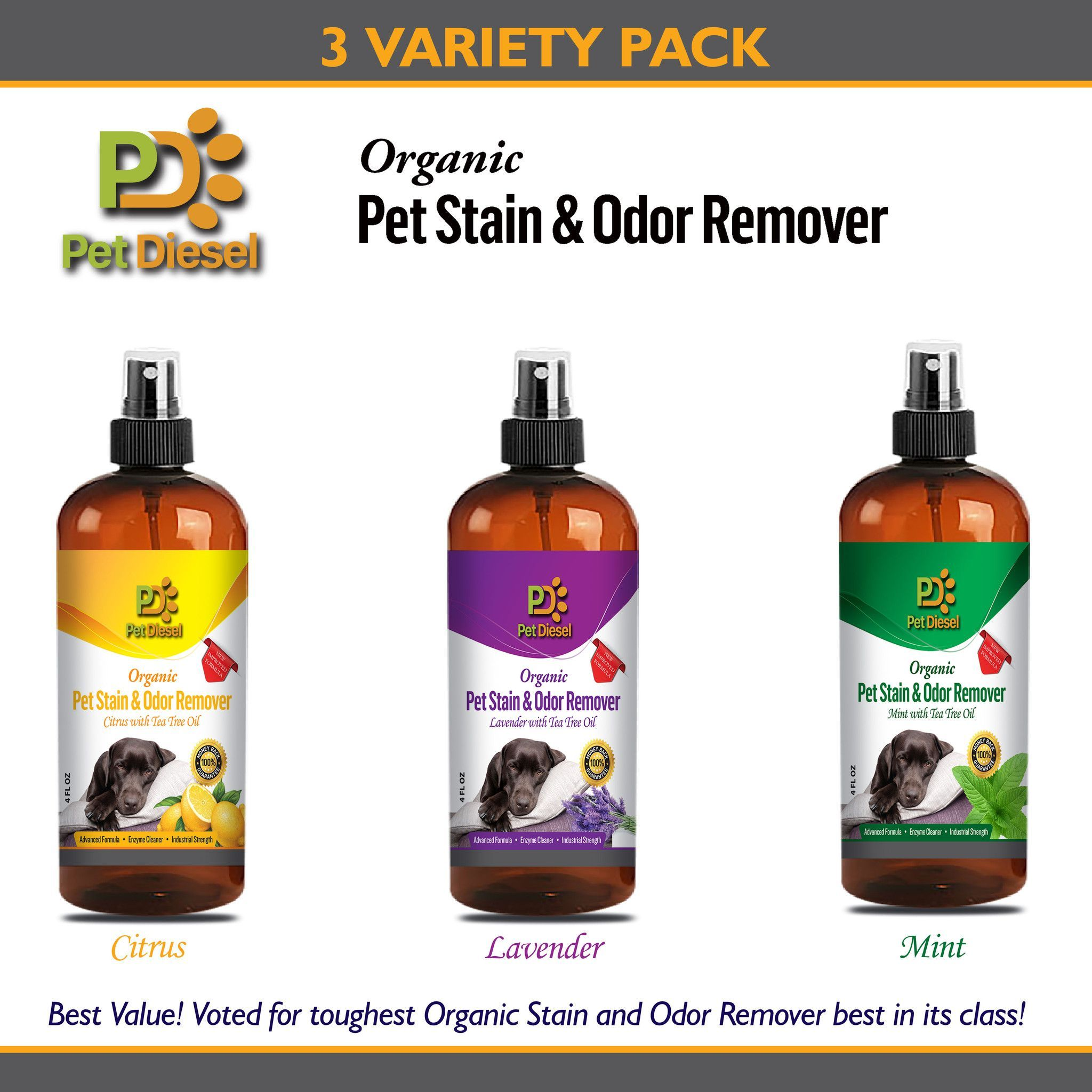 3 VARIETY PACK Pet Stain & Odor Remover Spray (Lavender