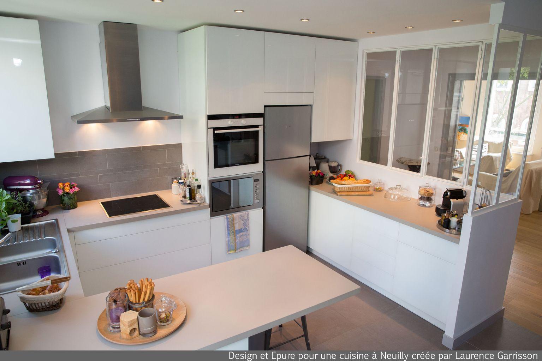 cuisine blanche moderne avec verrière et ilôt central 3 Laurence ...