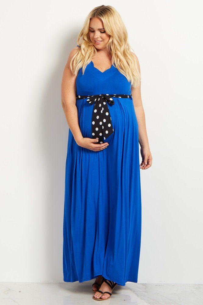 4cd26c95d7df Royal Blue Polka Dot Sash Tie Plus Size Maternity Maxi Dress in 2019 ...