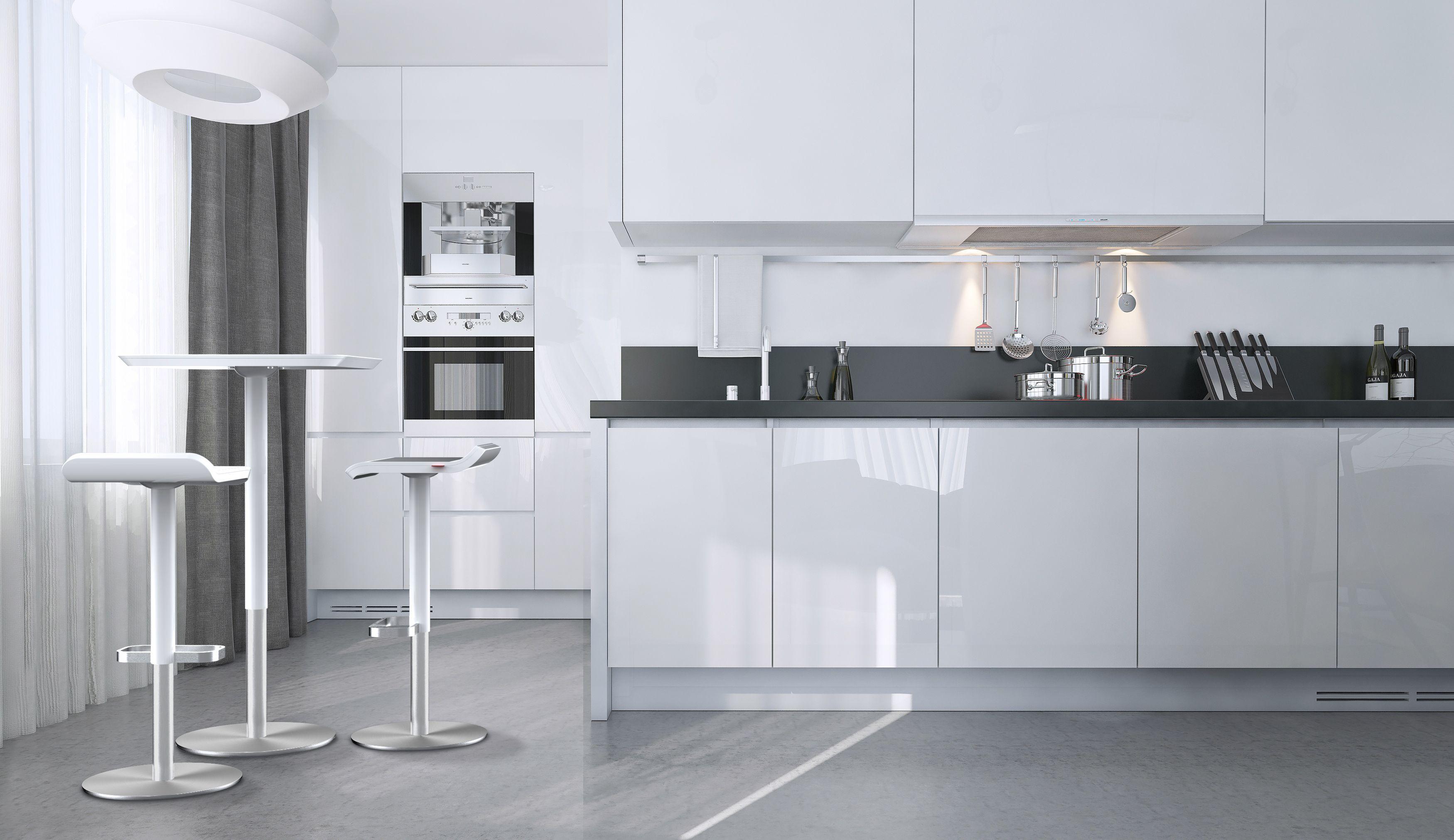 Küchenbarhocker die perfekte küche in hochglanz weiss mit küchenbarhocker ed