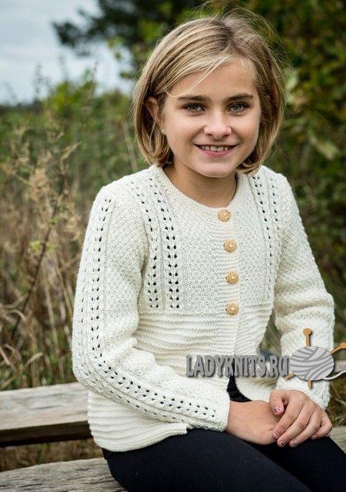 вязаный спицами нарядный кардиган для девочки от 4 до 12 лет