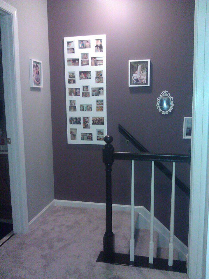 Purple Wall   Staircase, Gray Wall   Upstairs Hallway, Black Banister,