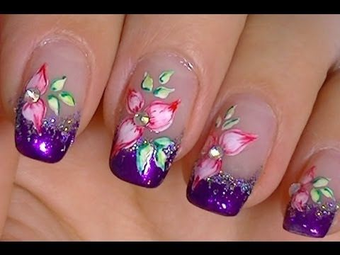 Ombre White And Purple Spring Fairy Nail Art Video Tutorial Flower Butterfly Pretty Pearls