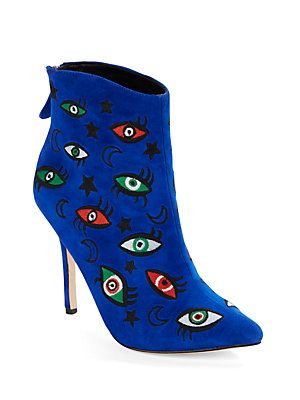 Isa Tapia Juliette Embroidered Suede Point-Toe Booties