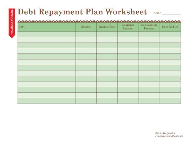Free Printable Debt Repayment Plan Worksheet Debt repayment - debt reduction calculator