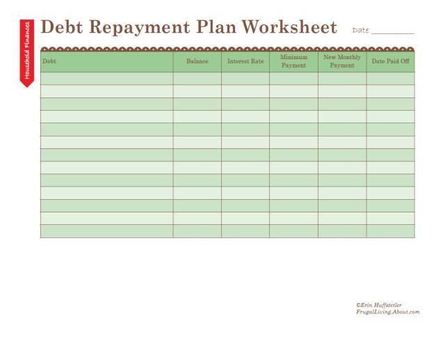 Free Printable Debt Repayment Plan Worksheet Debt repayment, Free