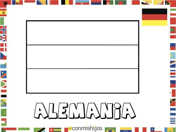 Niños De Paises Para Pintar: Bandera De Alemania. Dibujos De Banderas Para Pintar