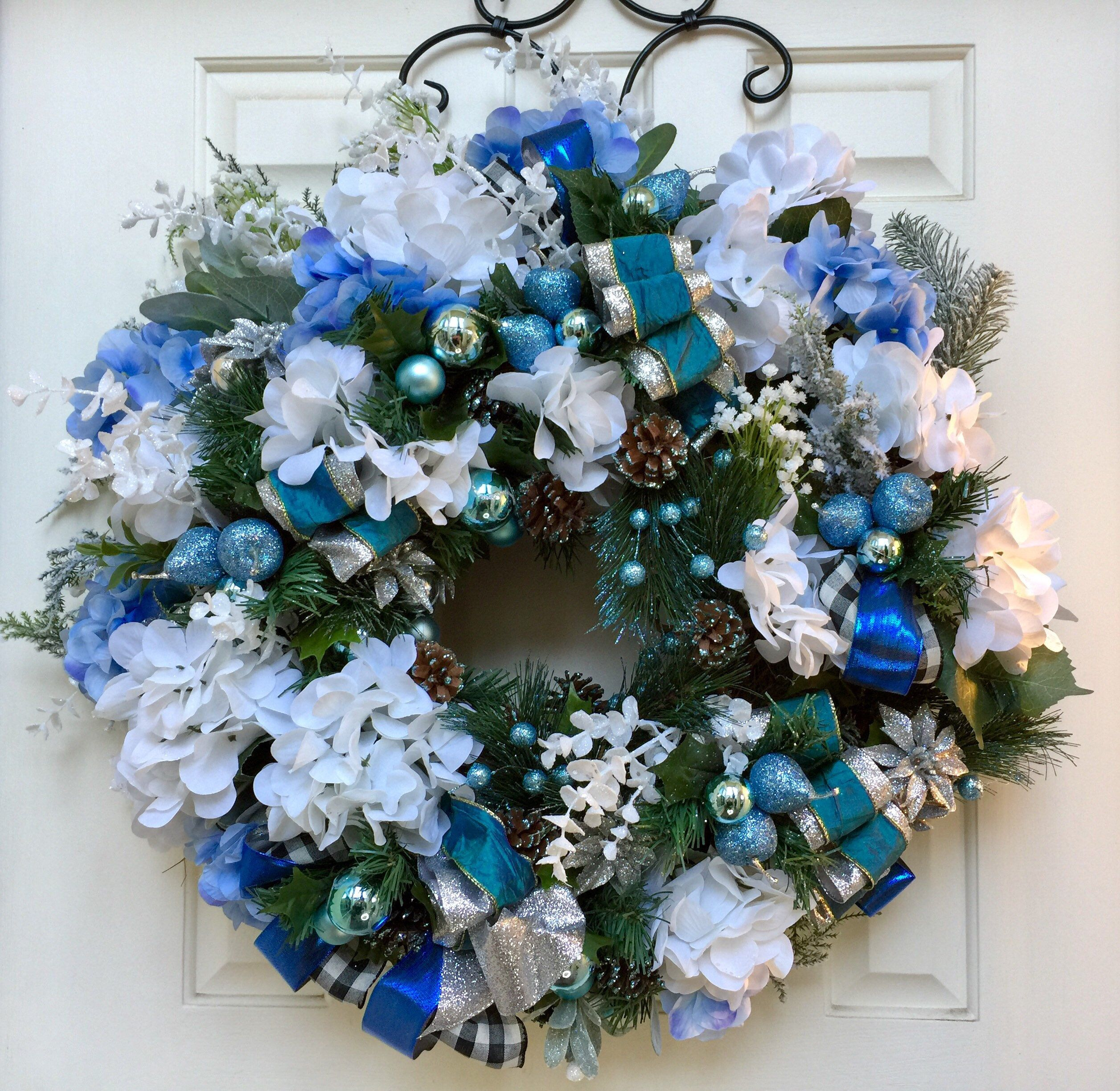 Blue And White Hydrangea Wreath For The