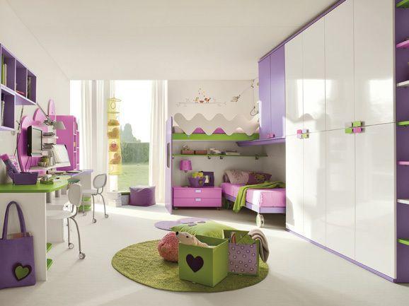 cuarto de niña rosa lila
