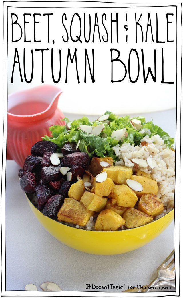 Beet, Squash & Kale Autumn Bowl Recipe Healthy vegan