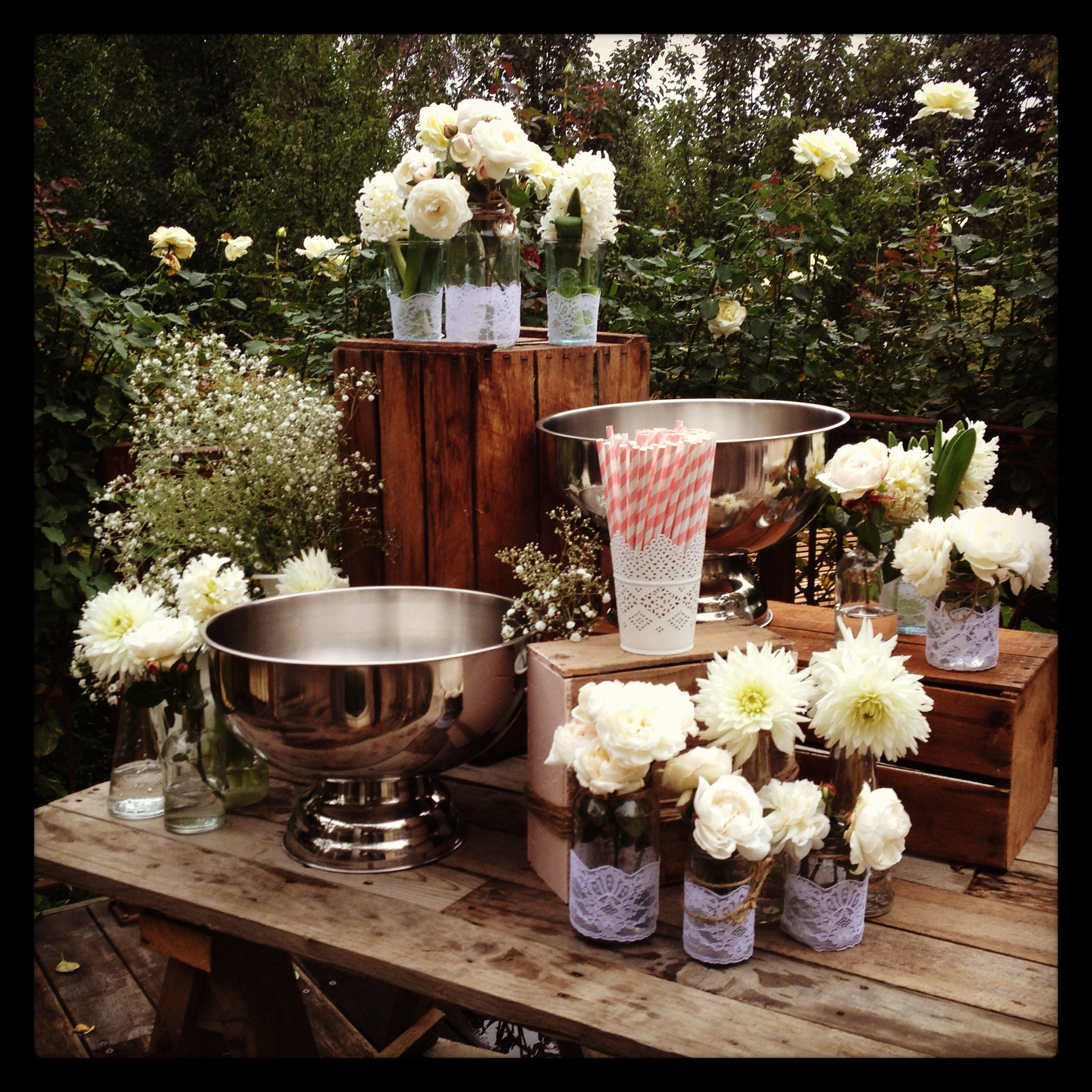 Drinks table for a romantic garden wedding.