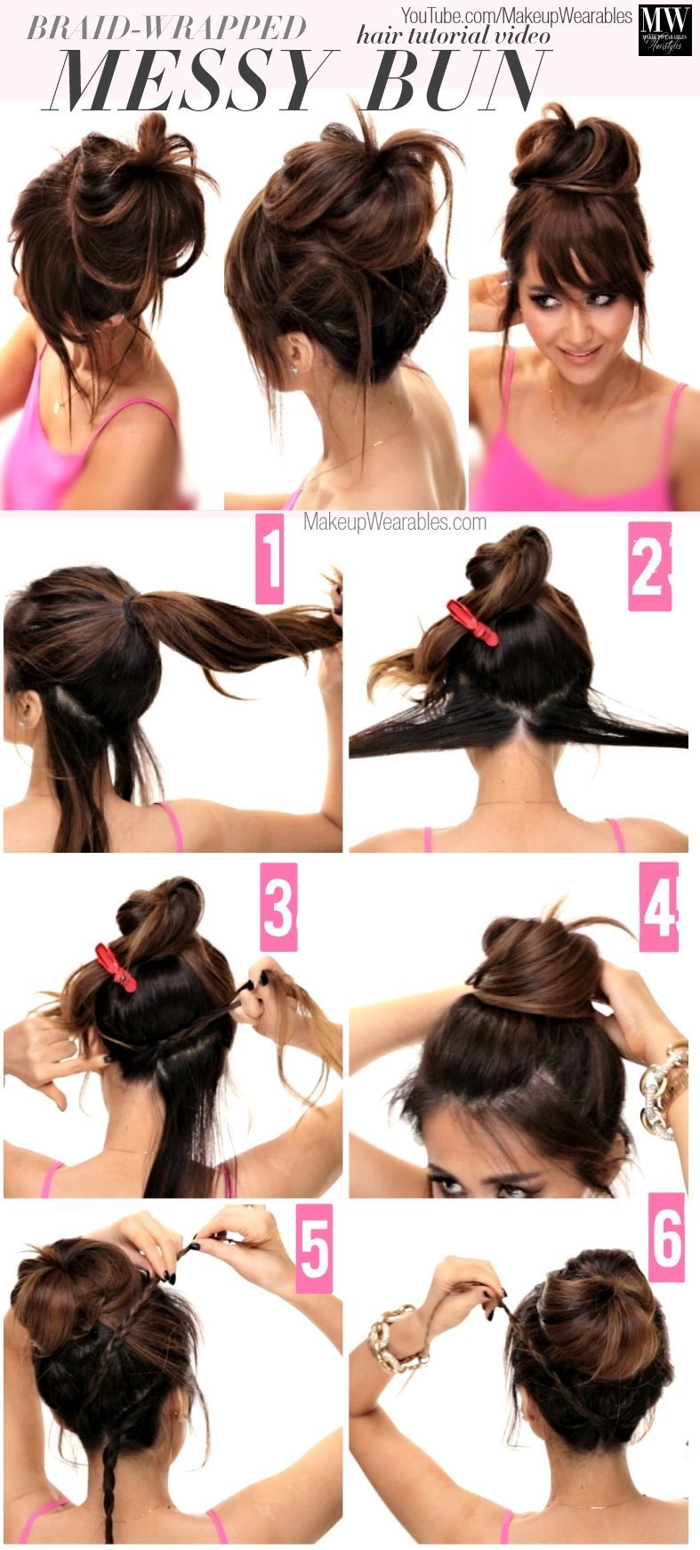 Braid Wrapped Messy Bun Hair Beauty Long Hair Updo Bun Diy Hair Hair Tutorial Hairstyles Tutorials H Hair Styles Easy Hairstyles For Long Hair Long Hair Styles