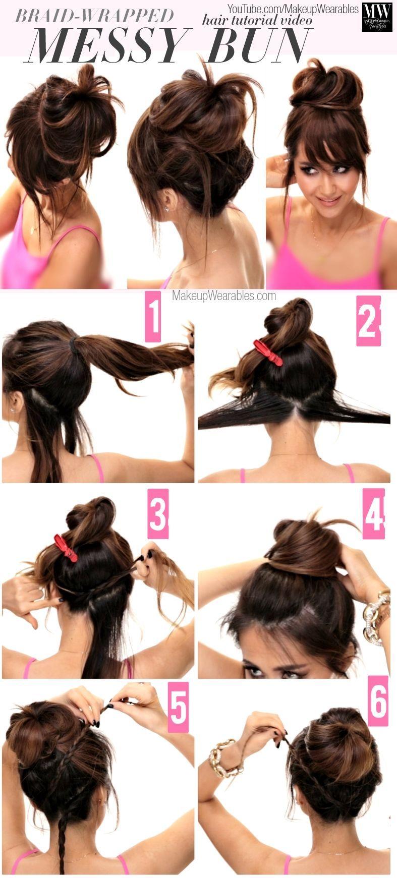Braid Wrapped Messy Bun Hair Beauty Long Hair Updo Bun Diy Hair Hair Tutorial Hairstyles Tutorials H Hair Styles Easy Hairstyles For Long Hair Long Hair Styles