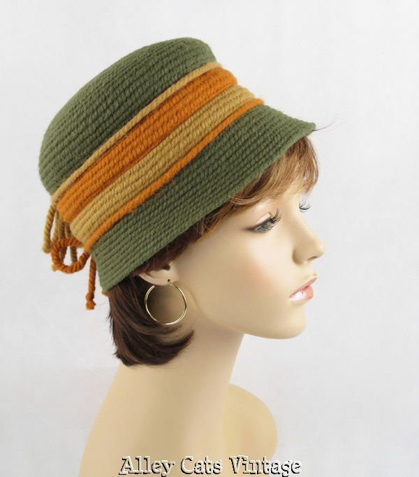 Vintage Hat Knitted Everitt Green Taupe and Rust Cloche from alleycatvintage on Ruby Lane