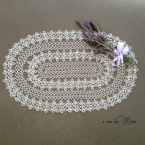 Centre en coton ovale-frivolité-blanc ovale de par Acasaconmanu