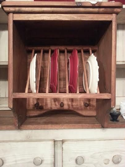 Wood Hanging Plate Rack - Primitive Country Shelf - Kitchen Wall ...