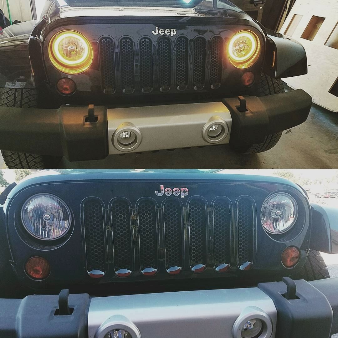 Stock Jeep Wrangler Headlights Out New Halo Lights In