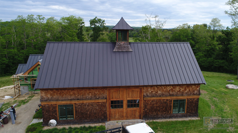 Matte black kynar aluminum metal roofing with cupola and ...