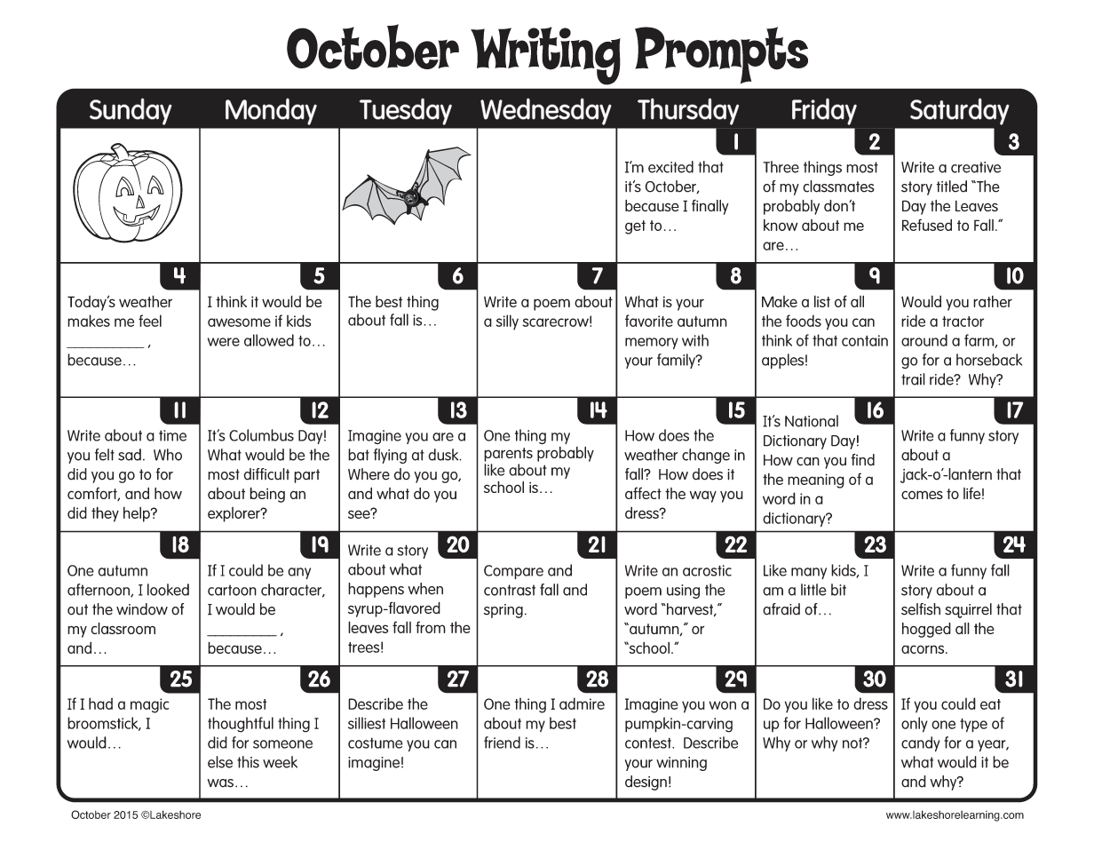 October Writing Prompts From Lakeshore Learning Classroom