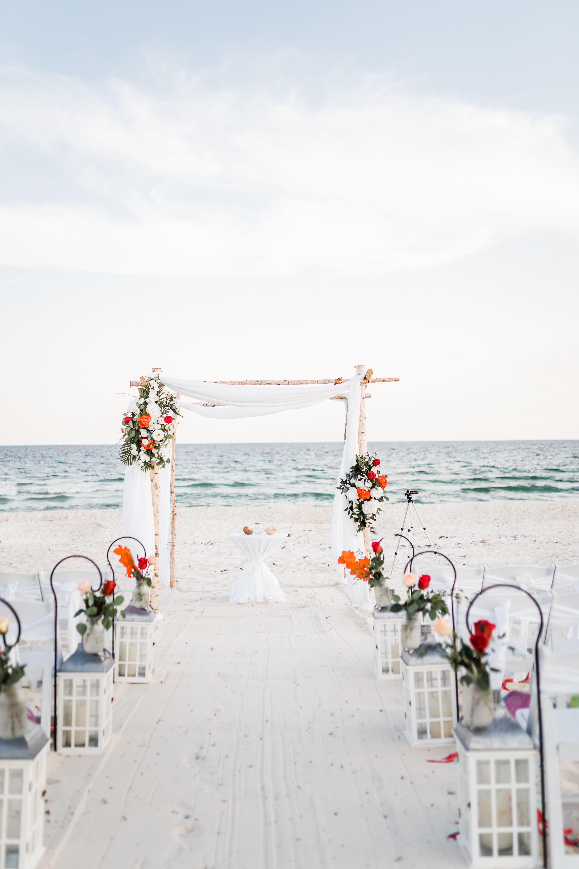 White Birchwood Arch Beach Wedding In 2020 Beach Wedding Planner Beach Wedding Alabama Beaches