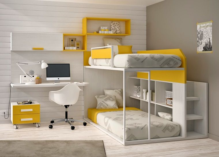 Letti A Castello Per Bambini : Letti a castello per bambini in bianco e giallo my kids in