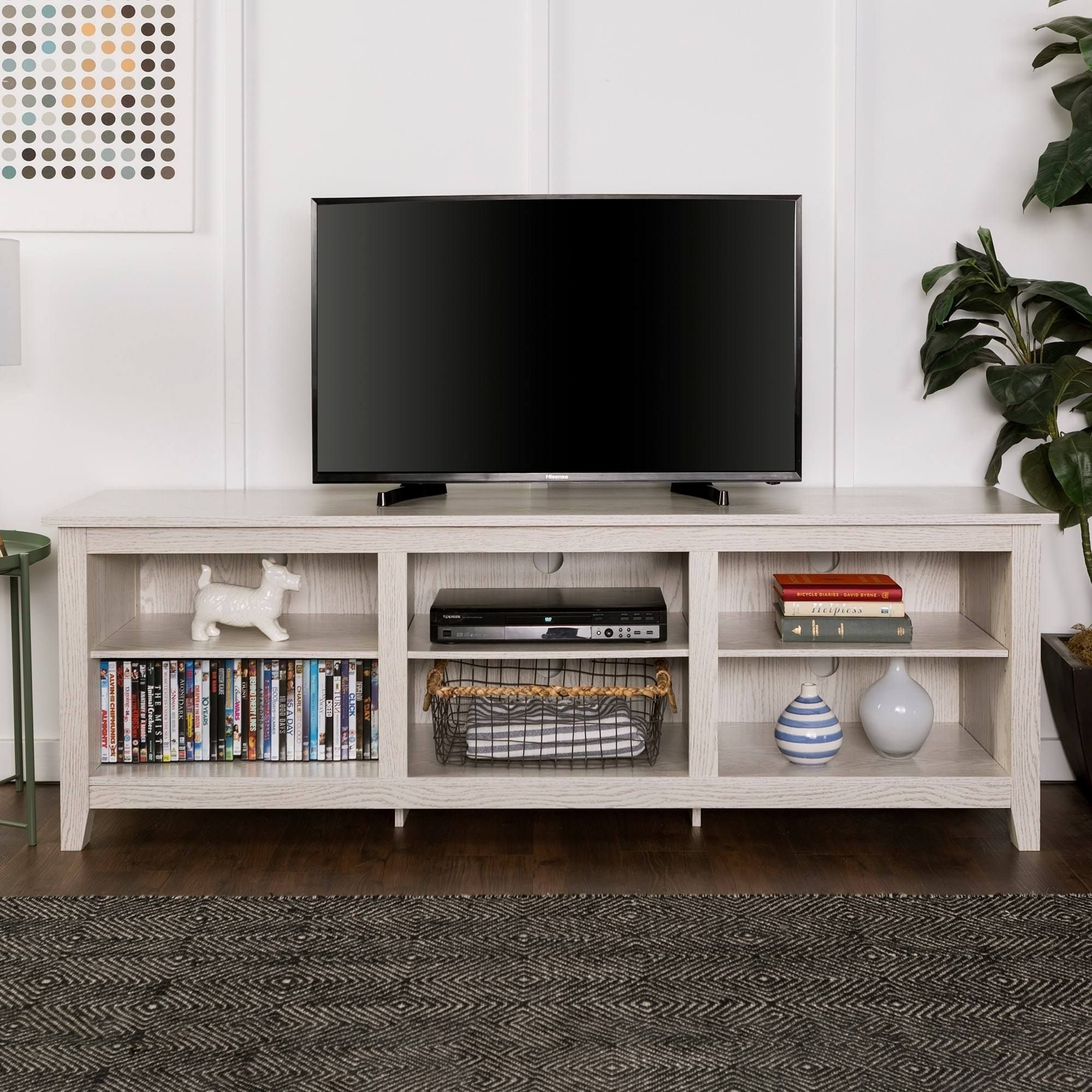 We Furniture 70 Inch Wood Media Tv Stand Storage Console White Wash White Finish With Images Tv Stand Wood Wood Tv Stand Rustic Tv Stand With Storage