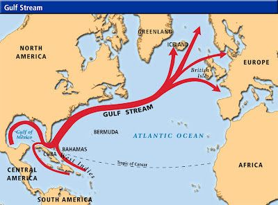 Map Of The Gulf Stream Gulf Stream Map | Geography | Map, Iceland climate, Europe continent