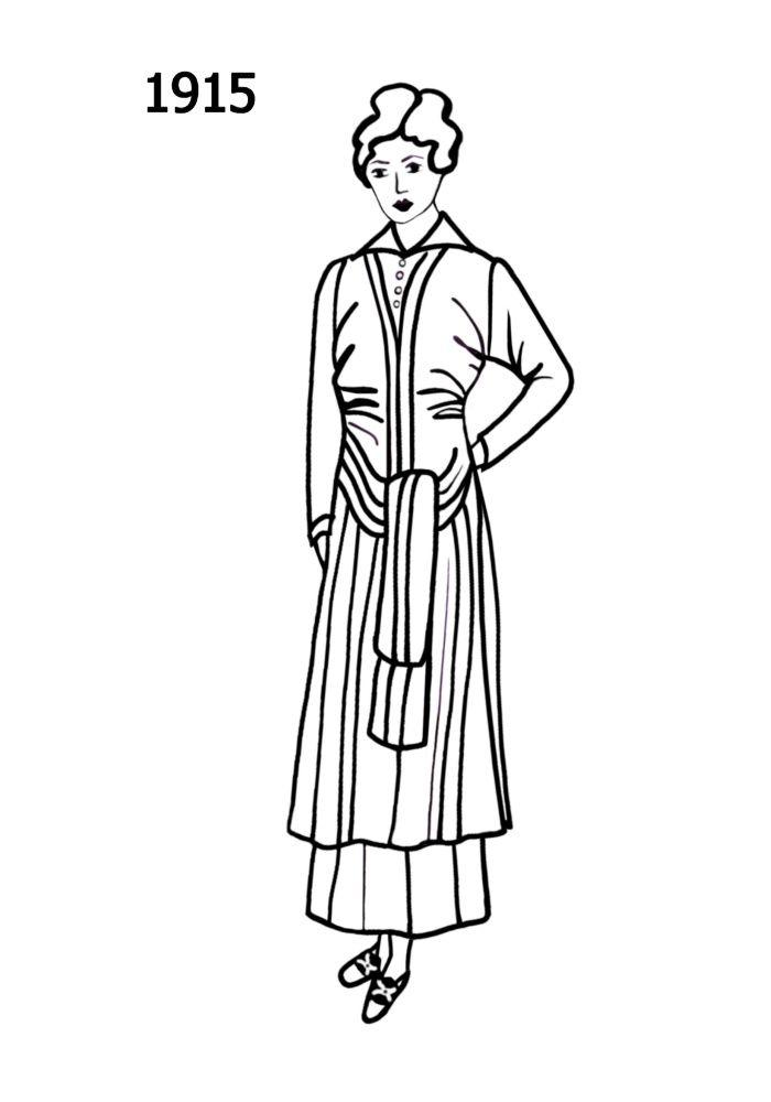 Line Art History : Line drawing of the fashion history era apparel
