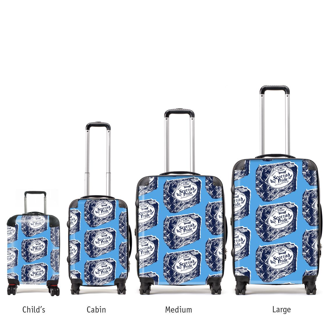 Brand new from Gillian Kyle. These fabulous Scottish suitcases come in various sizes. Wear your Scottishness with pride and stand out from the crowd.