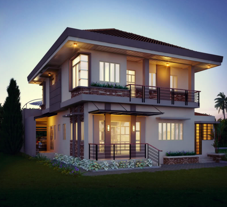 Two Double Storey Houses With Small Balcony Amazing