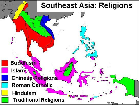 Religion Map Of South Asia.Southeast Asia Religions Maps Asia Map Southeast Asia Asia