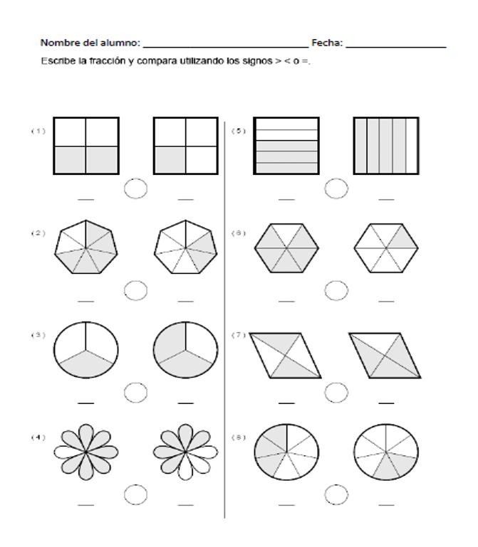 Descargar Ejercicio Para Comparar Fracciones Gráficamente Fracciones Para Primaria Comparacion De Fracciones Fracciones