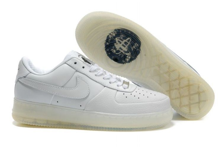 All White Transparent Sole Nike Air Force 1 25th Low Shoes Mens 30347