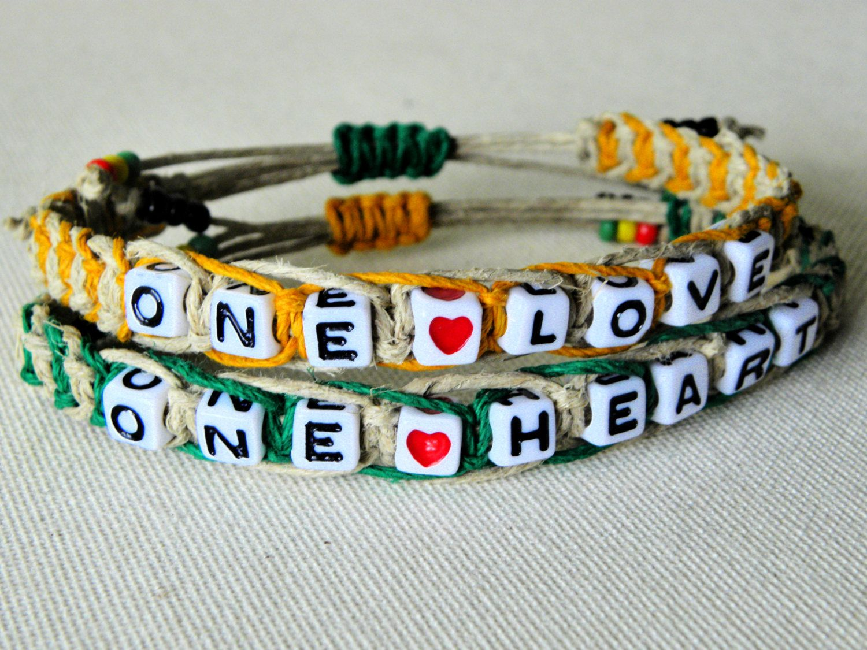 One Love One Heart Valentines Couples Bracelet Hemp Bracelet