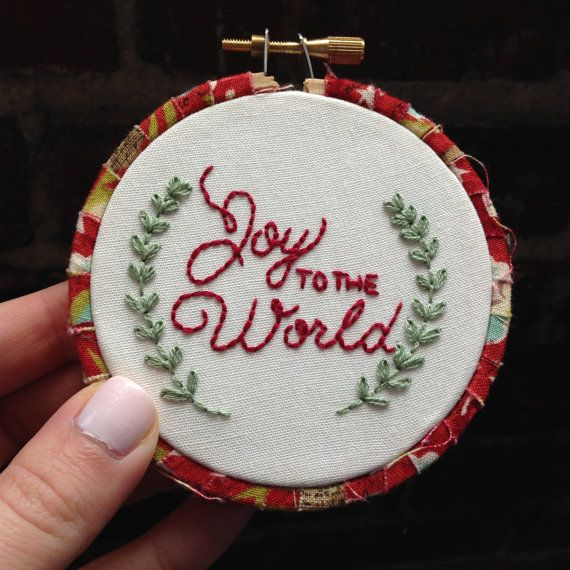 Joy to the World Christmas Embroidery Hoop Ornament