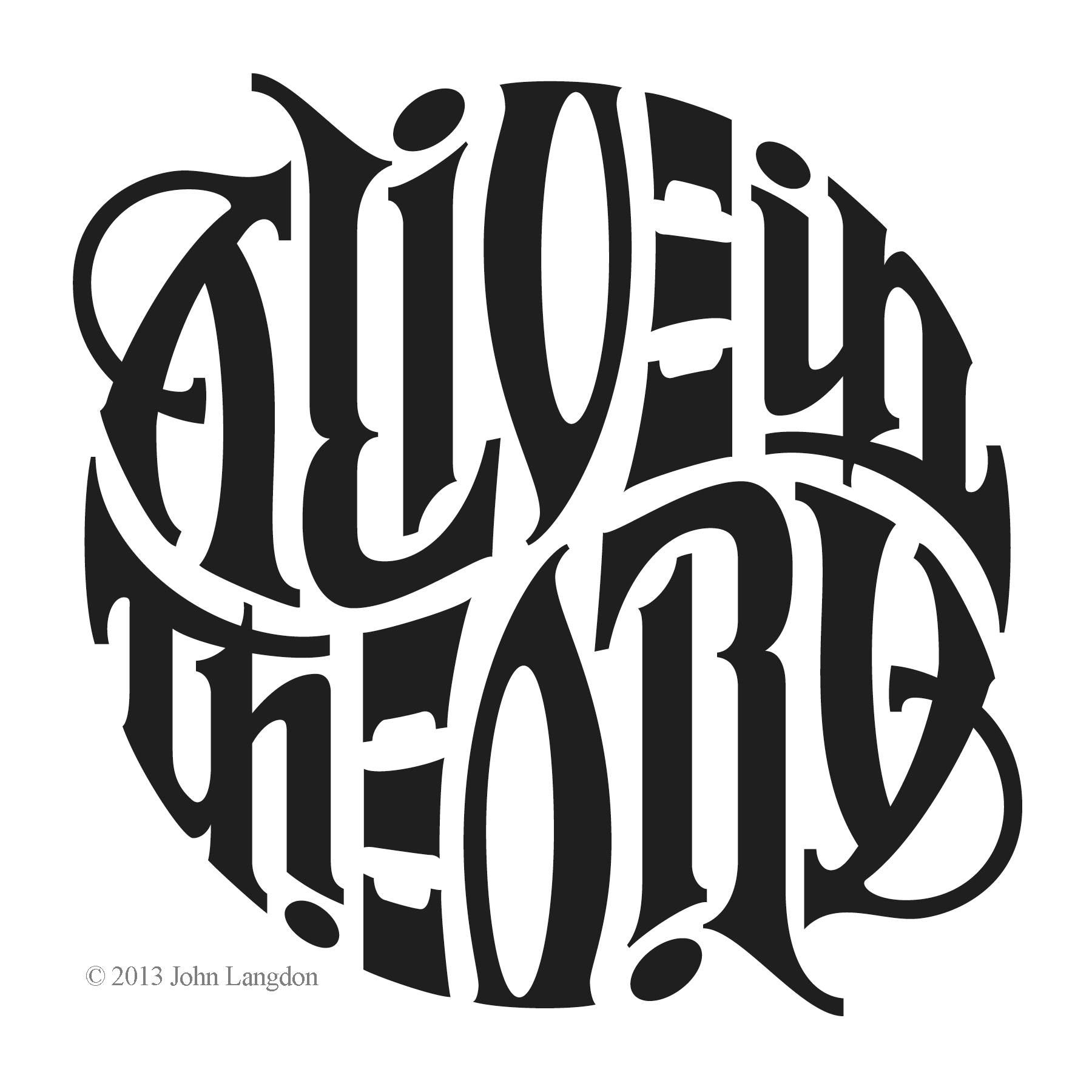 John langdon alive in theory ambigram tipographic logo