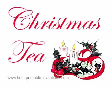 Holiday Tea Party Free printable Christmas tea party invitations - free xmas invitations