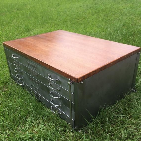 Free Shipping Vintage Flat File Cabinet Coffee Table On Casters