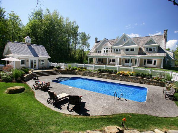 Pin By Jennifer Keifer On Design Poolside Pool Houses Rectangle Pool Inground Pool Landscaping