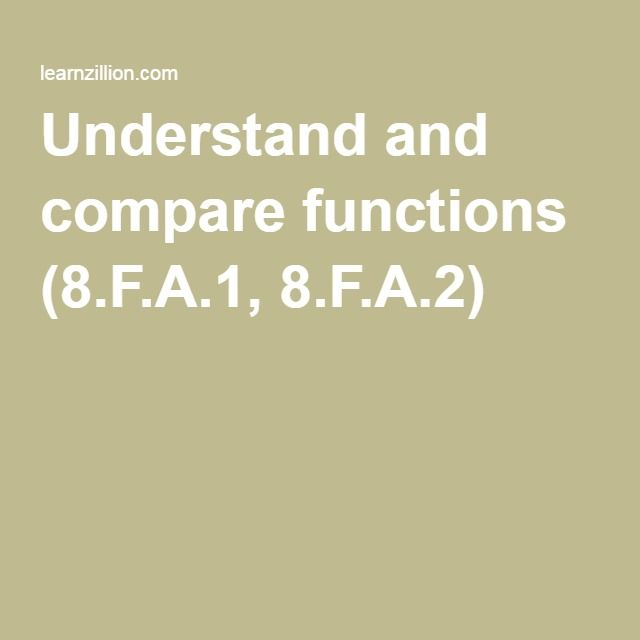 Understand and compare functions (8.F.A.1, 8.F.A.2)