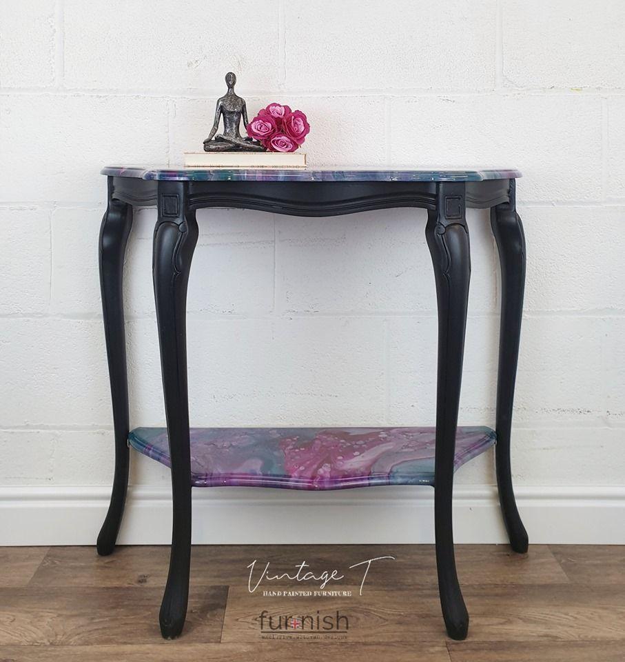 Black Double Shelf Console Table Painted Furniture Hand Painted Furniture Console Table