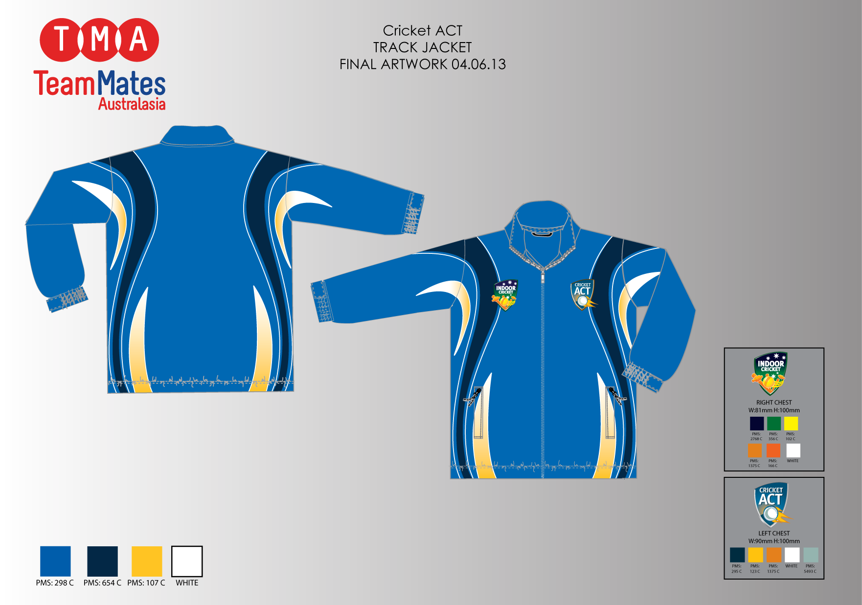 Artwork for the ACT Indoor Cricket State team tracksuit top