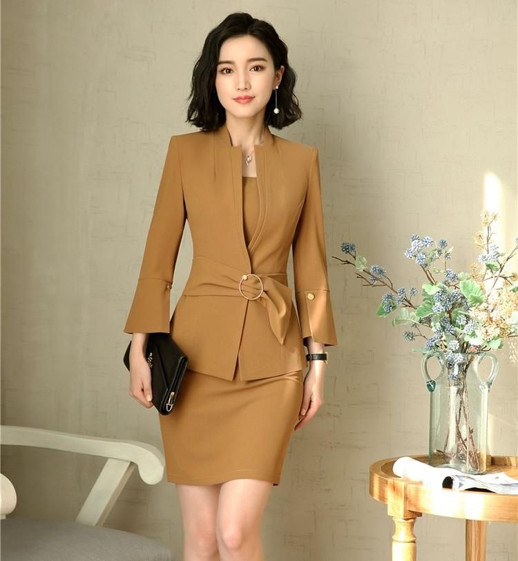 a9c8701c3300 New Style 2018 Fashion Grey Blazer Women Business suits Dress and and Jacket  Sets Ladies Office Uniform Designs