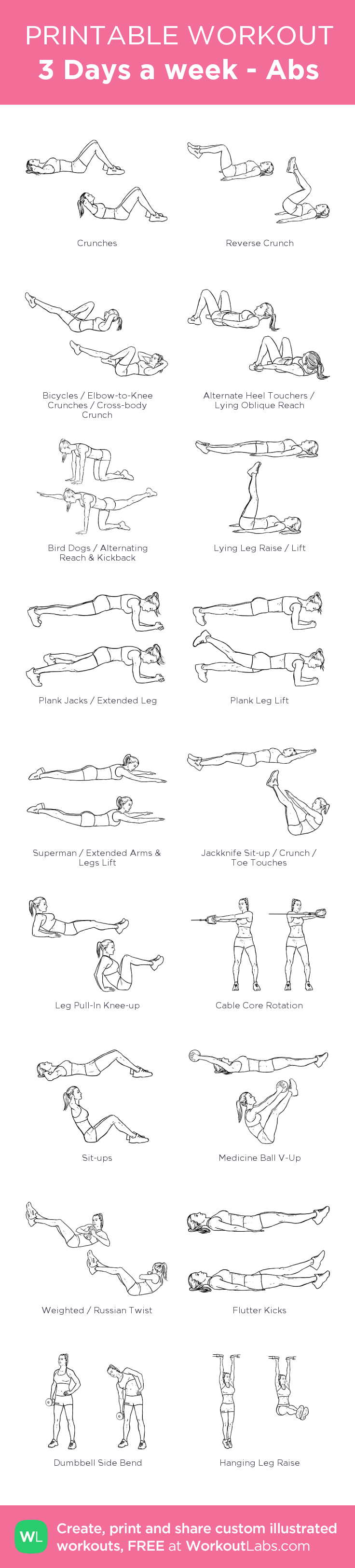 3 Days a week - Abs: my visual workout created at WorkoutLabs.com