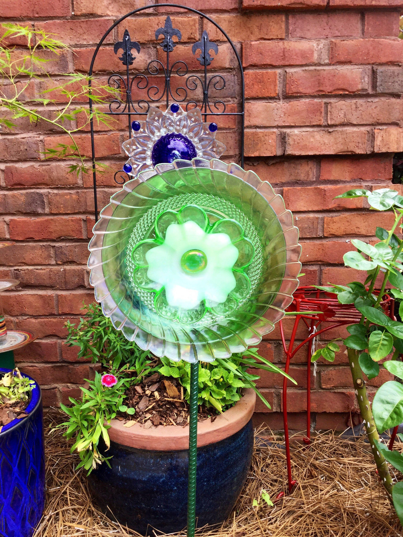 Glass yard art  Rebeccaus Pale Green Glass Flower by TiggyGlass on Etsy