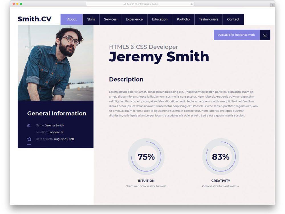 Website Resume template free
